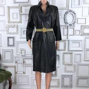 Vintage Black Leather Shirt Dress